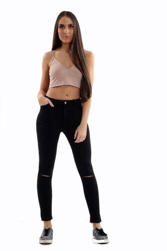 Ladies Mango Noa RIPPED Skinny High Waist Jeans Black Womens Denim Jeggings