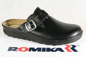 Romika-Men-039-s-Clogs-Sabot-Mules-Slippers-Leather-Black-New