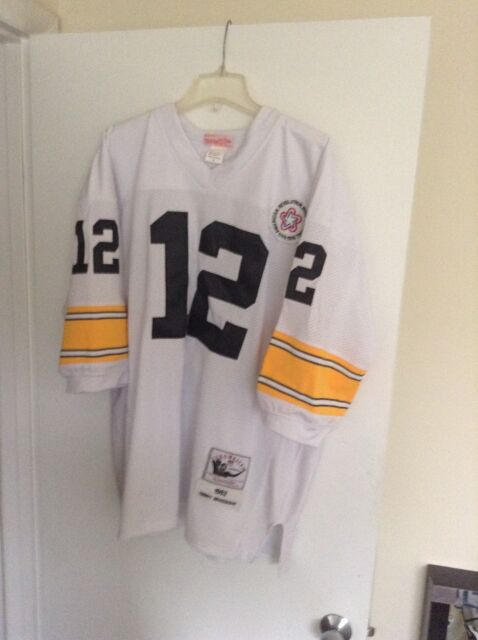62d39f70525 Terry Bradshaw Pittsburgh Steelers jersey white Black Mitchell   Ness SZ 52  NWOT
