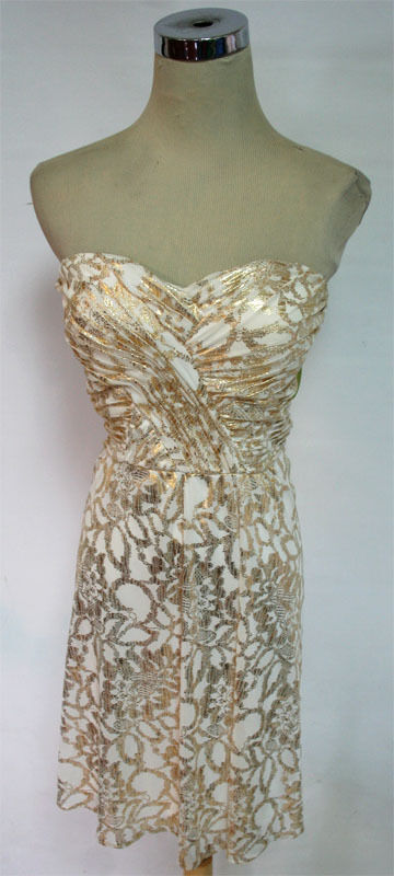 HAILEY LOGAN Ivory gold Prom Party Gown 11 -  100 NWT