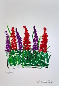 Unikat-Mooseart-Zeichnung-Blumen-Gouache-auf-Papier-ca-15x21cm-Original