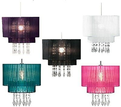 Rib and Voile Beaded Pendant Acrylic Droplet Ceiling Light Lamp Shade Chandelier