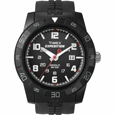 """Timex T49831, Men's """"Expedition"""" Black Resin Watch, Indiglo, Date T498319J"""