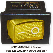 (5PCs) KCD1-102N Mini Rocker YELLOW With Lamp 10A 125VAC 3Pin SPST ON-OFF Switch