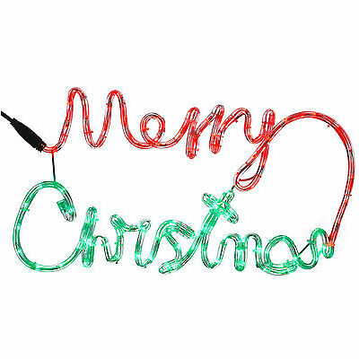 55cm Pre-Lit LED Merry Christmas Rope Light Silhouette Decoration, Red & Green