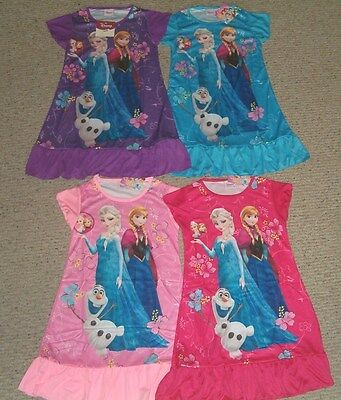 Disney Frozen Elsa Anna & Olaf Nightgown Pajama  3/4 - 5/6 - 7/8 - 9/10  NWT