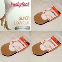 6 Pair Women's Kushyfoot Super Low Cut Foot Covers/socks, Nude & Black 3478