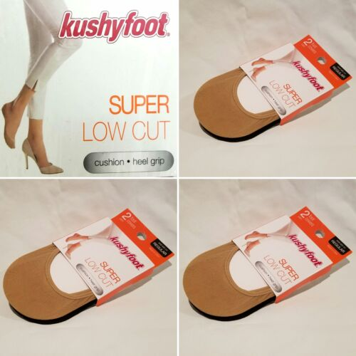 6 Pair Women/'s Kushyfoot Super Low Cut Foot Covers//Socks Nude /& Black 3478