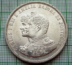 PORTUGAL-CARLOS-I-1898-1000-REIS-400th-Anniversary-Discovery-of-India-SILVER