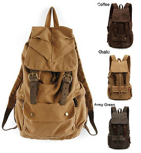 Canvas Leather Outdoor Rucksack Military Shoulder Hiking Backpack School Bag New