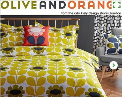 Orla Kiely Olive And Orange Tall Sunflower Gelb Super King Duvet Cover Set