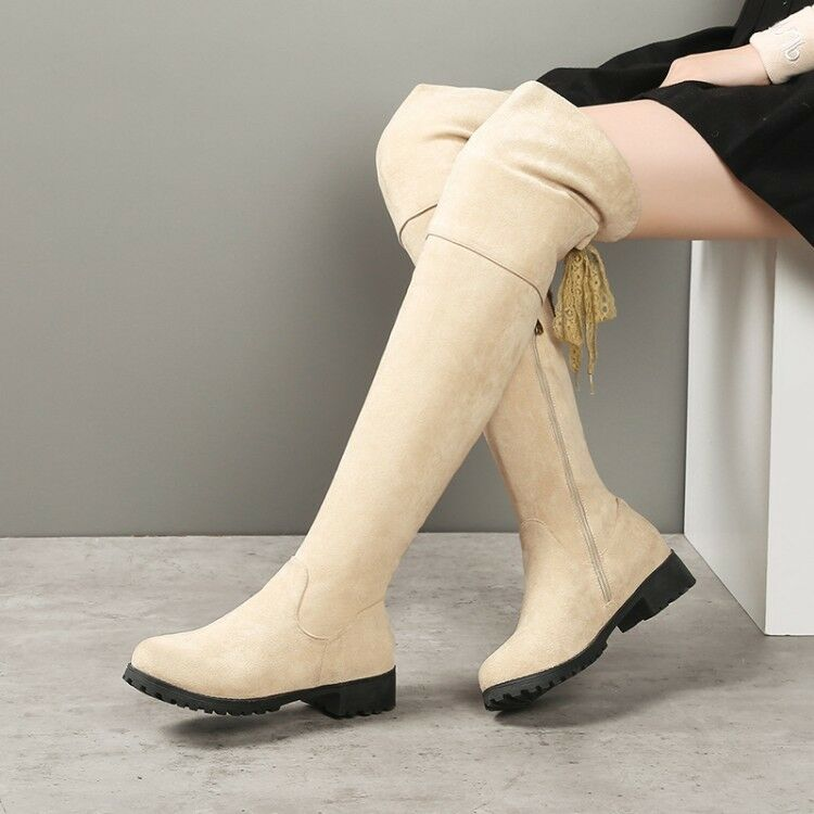 Womens Lace Up Faux Suede Combat Block Heel Casual Work Over The Knee Boots NEW