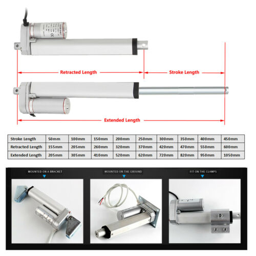 2-16/'/' DC 12V 500N Linear Actuator Motor For Auto Car RV Electric Door Opener