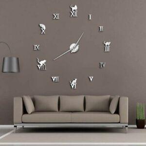 Wall-Clock-Home-Decoration-3D-DIY-Mirror-Modern-Frameless-Cat-Designed-Watch-New