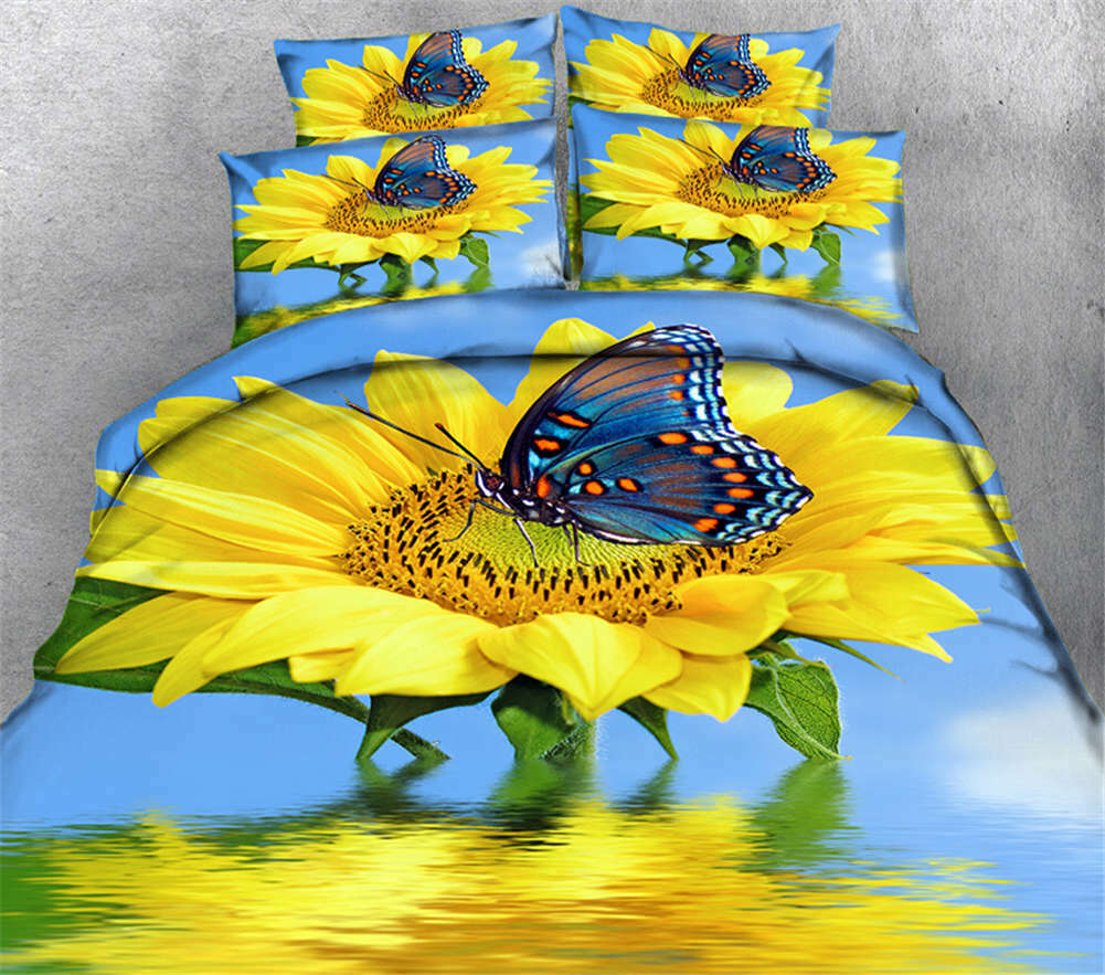 Glaring Sunflower 3D Printing Duvet Quilt Doona Covers Pillow Case Bedding Sets