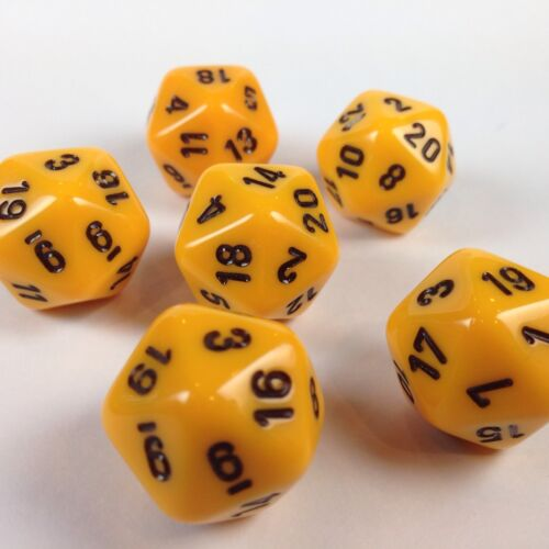 Soft Edge Set of 6 D20 Chessex Dice  RPG D/&D Opaque Yellow w// Black Rare