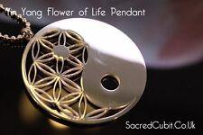 Yin Yang Flower of Life Sacred Geometric Symbol Pendant