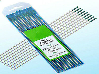 """10 pcs of 1/8""""* 7""""(3.2*175mm),Green WP,Pure Tungsten Welding & TIG Electrodes"""