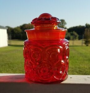 L-E-Smith-Amberina-Red-Glass-Moon-and-Stars-Canister-Apothecary-Jar-amp-Lid-7-034