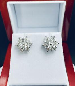 14k White Gold 1.50ctw Diamond Cluster Flower Earrings Screwbacks D963