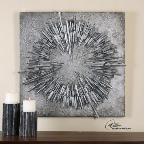Modern Art Metallic Starburst Wall SculptureSunburst Industrial Loft Silver