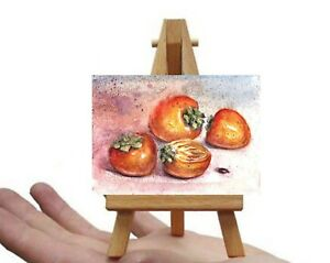 ACEO-persimmon-fruits-still-life-watercolour-painting-original-art-card-signed
