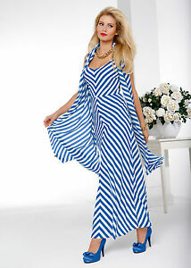 Neu-Gloeoeckler-Abendkleid-Kleid-Gr-50-52-royalblau-gestreift-zu-Jacke-Schuhe