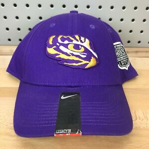 LSU Tigers NCAA Football BCS NIKE S1ZE Legacy 91 Stretch Fit Cap Purple NWT Hat