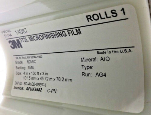 60 MIC POLYESTER FILM 3M 14087 ABRASIVE FINISHING ROLL 4INCHES X150 FT