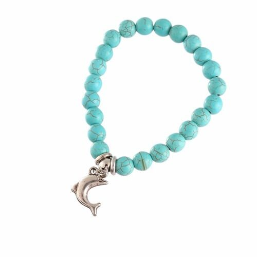 Silver Owl Elephant Dolphin Vintage Turquoise Cuff Bracelet Bead Dangle Bracelet