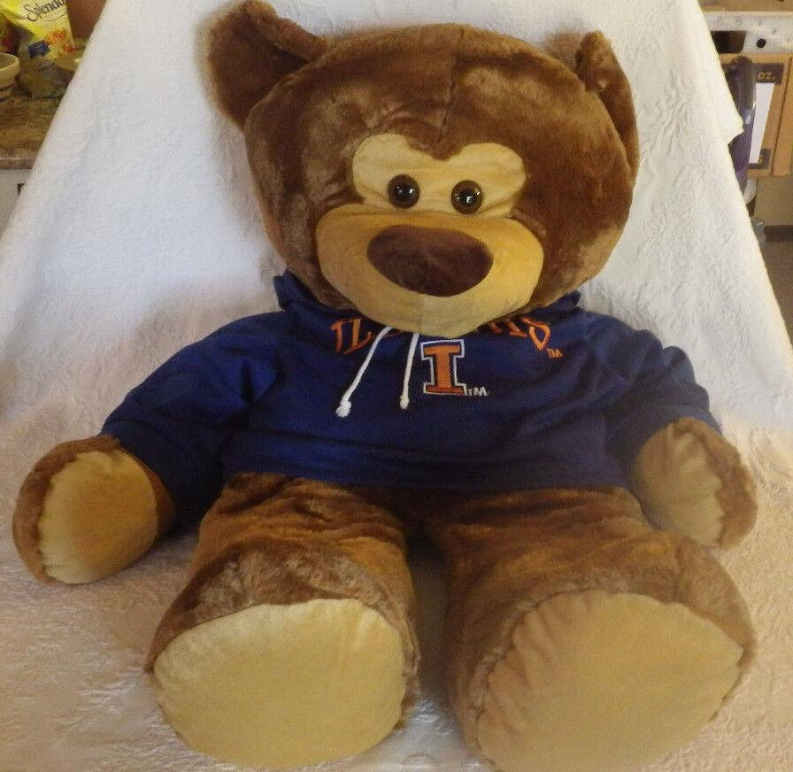 orso Iliniois College Hoodie Sweatshirt Illini Stuffed Animal giocattolo Plush 38  Ttutti