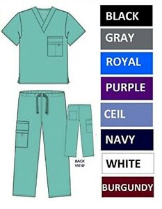 NWT-Unisex-Nursing-Medical-Solid-Scrubs-Top-Pants-or-Sets-8-Pockets-XS-S-M-L-XL
