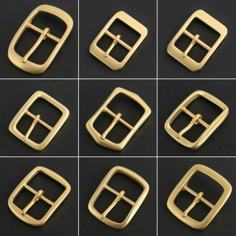2Pcs Solid Brass Pin Buckle for Men Leather Belt Replacement Strap Accessory