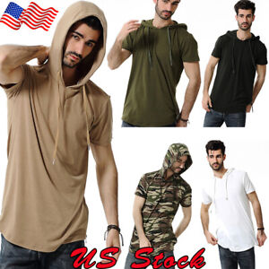 Mens-Hooded-Slim-Fit-Short-Sleeve-T-Shirt-Hoodie-Muscle-Tops-Solid-Casual-Shirts