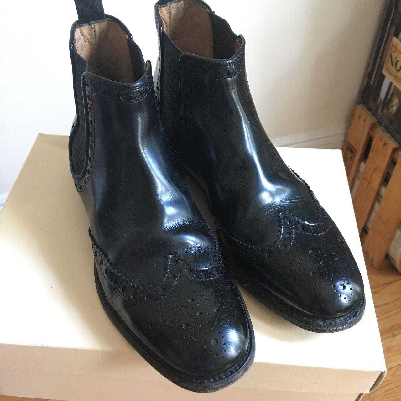 Il Gergo cuir véritable Bottines Chelsea Femmes 38.5 CHURCH'S Oxford Noir 8.5