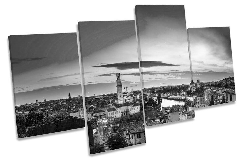 VERONA ITALIA CITY B&W CANVAS Wall Art Multi Box incorniciato