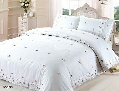 Sophie Duvet Quilt Cover Flowers Lace, White Bedding With Embroidered Flowers