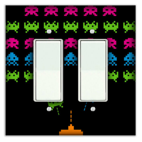 Space Invaders Decorative Double Rocker Light Switch Plate Cover