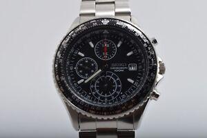 Exellent-SEIKO-Flight-Master-Pilot-Chronograph-7T92-0CF0-Watch-Wristwatch-F-S