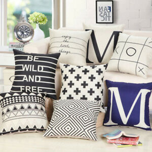 Throw Pillows Geometric Blackwhite Decorativechairseat Cushions