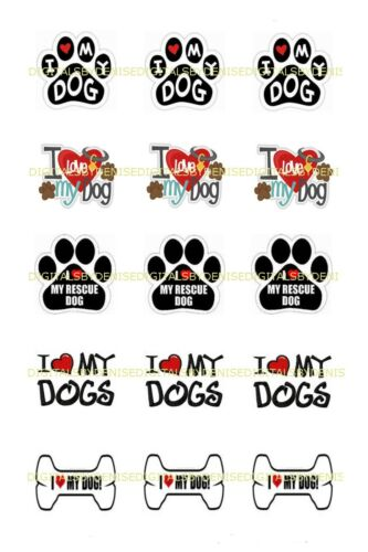 """I LOVE DOGS  1/"""" CIRCLES  BOTTLE CAP IMAGES $2.45-$5.50 *****FREE SHIPPING*****"""
