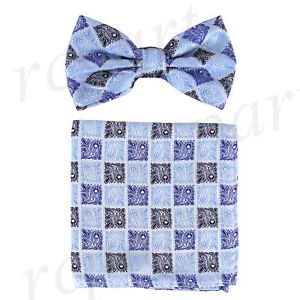 New Men's Pre-tied Bow Tie & Pocket Square Hankie Blue paisley formal wedding