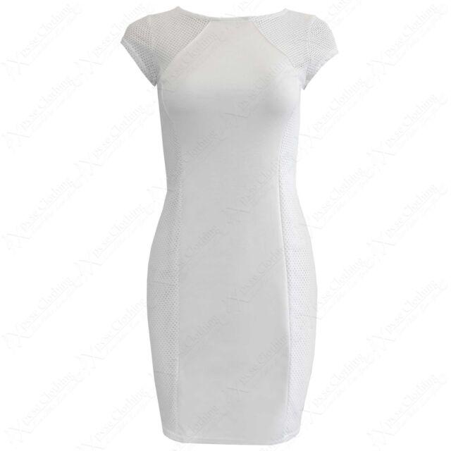 NEW LADIES FISHNET SIDE PANEL MINI DRESS WOMENS CREAM BODYCON MESH LOOK DRESSES