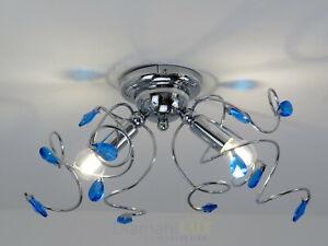 Dettagli su lampadario plafoniera moderna con cristalli blu metallo cromato  camera soggiorno