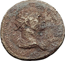 TRAJAN 115AD Rome Dupondius Felicitas LUCKY Authentic Ancient Roman Coin i59653