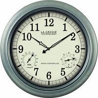 La Crosse 18 Inch Diameter Outdoor Weatherproof Analog Atomic Wall Clock Silver
