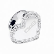 NEW DOLCE & GABBANA D&G DJ0545 SILVER FASHIONABLE STRASS HEART RING SIZE 7.5 HOT