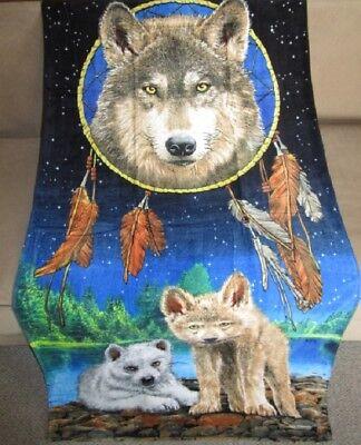 New Oversized Dreamcatcher Wolf /& Pups Bath Beach Pool Cotton Gift Towel Wolves