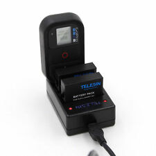 Gopro Hero 4 Dual USB Battery Charger + Remote Charger 3 in 1 Telesin
