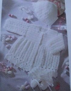 CROCHET-PATTERN-BEAUTIFUL-BABY-CARDIGAN-BONNET-amp-BOOTEES-16-20-INCH-CHEST